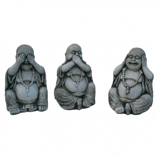chinese hear speak see no evil buddha fat small No See Speak Listen Buddha Statue Set