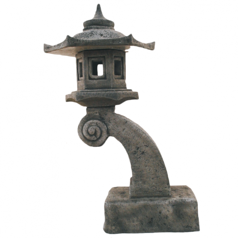 Curved Bali Pagoda 100cm chinese asian orniental lantern lamp stone concrete statue ornament garden outdoor
