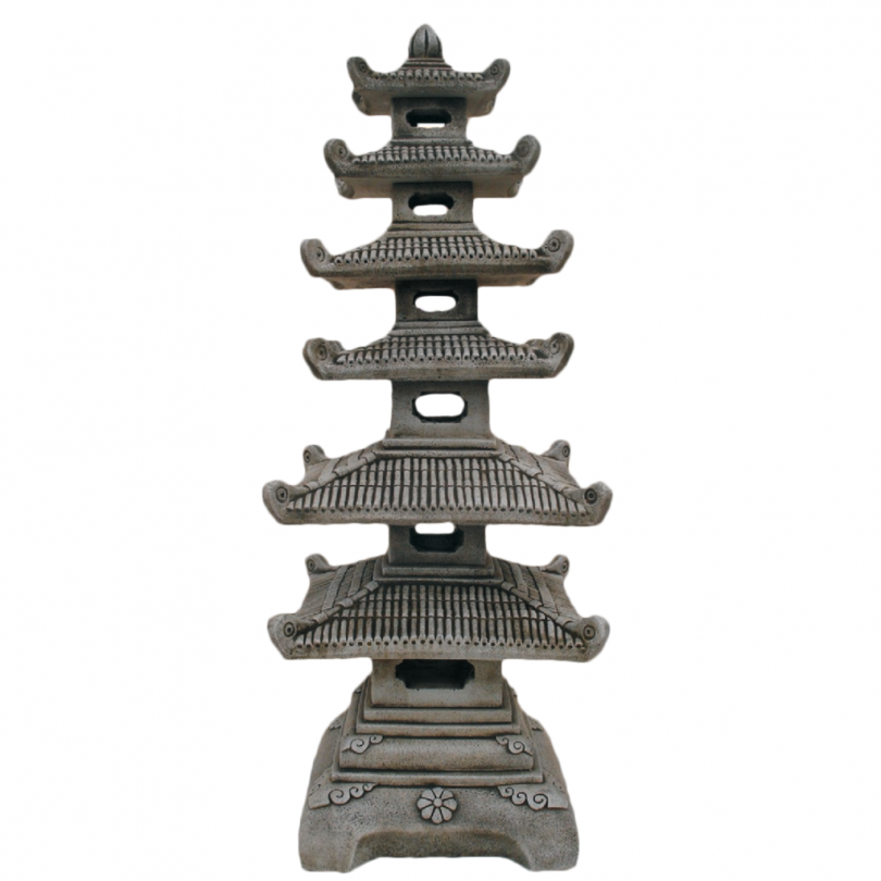 Square Pagoda 127cm chinese asian orniental lantern lamp stone concrete statue ornament garden outdoor house building
