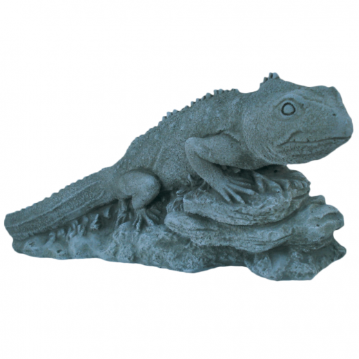 Iguana Sitting On Stones 20cm ornament stone art animal lizard garden indoor outdoor statue