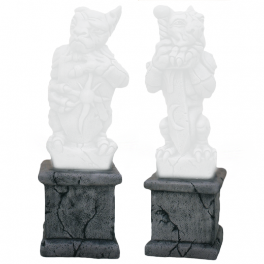 Small Square Cracked Base 24cm statue concrete stone cracked gargoyle outdoor indoor