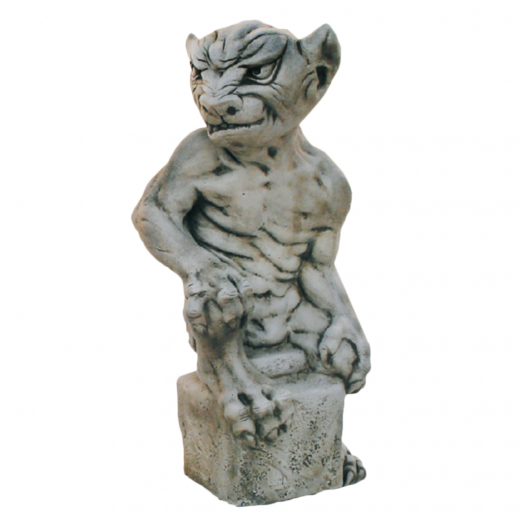 Sitting Angry Gargoyle 49cm moody furious gargoyle monster stone statue art concrete ornament garden