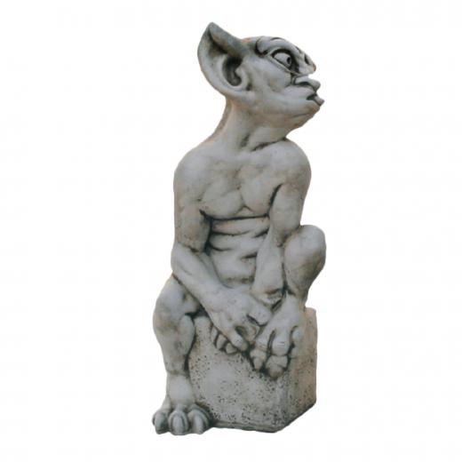 Sitting Mocking Gargoyle 49cm funny stone concrete art garden ornament statue