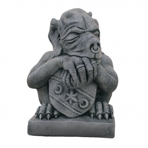 Sitting Gargoyle Holding Shield 53cm door stopper head ornament strone concrete art