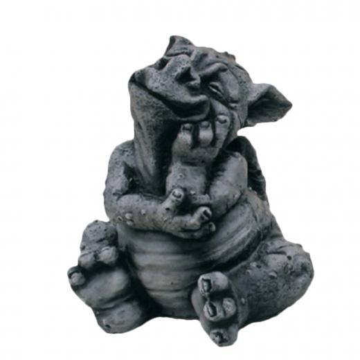 Small Sitting Dragon 21cm cute cheeky small stone art concrete ornament garden statue