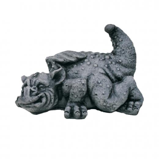 Small Laying Dragon 21cm cute cheeky small stone art concrete ornament garden statue