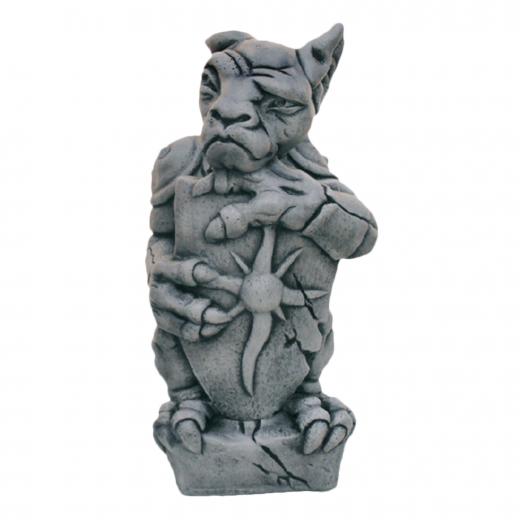 Standing Gargoyle Holding Shield 51cm garden ornament statue stone concrete art
