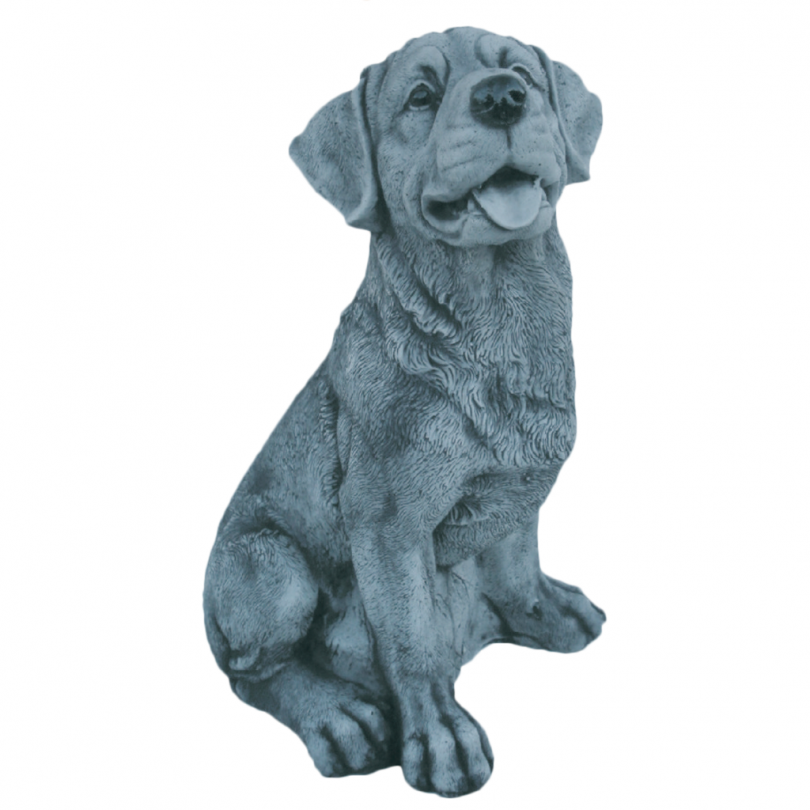Curious Dog Sitting 41cm statue ornament garden stone art