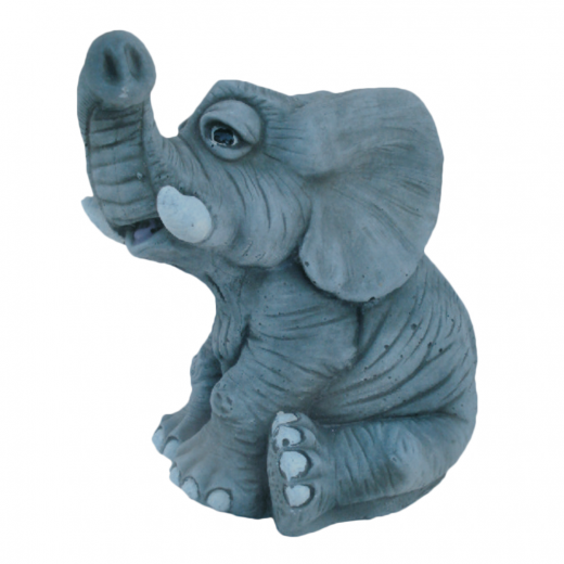 Sitting Playful Elephant 23cm stone ornament outdoor cute animal