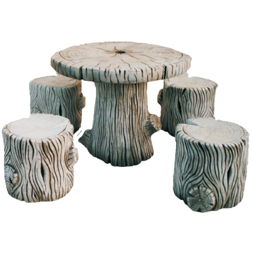 Stone Tree Table Including Chairs 41cm stone wood bark garden outdoor style