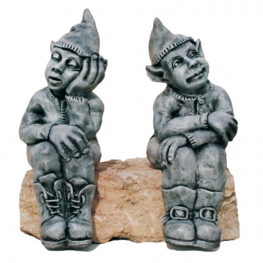 step Sitting Left Right Gnome 50cm stone statue ornament