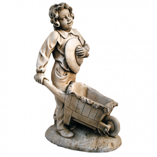 Wheelbarrow Boy 90cm garden statue charming outdoor ornament