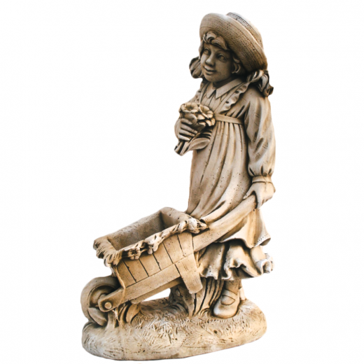 Wheelbarrow Girl 90cm garden ornament charming adorable statue stone concrete