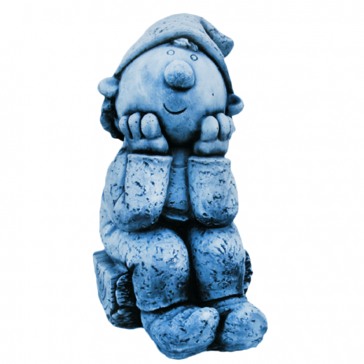 Boy Watching World Go By 46cm smiling looking world contemplating cute gnome stone statue