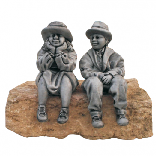 Boy & Girl Sitting 37cm statues cute garden ornament