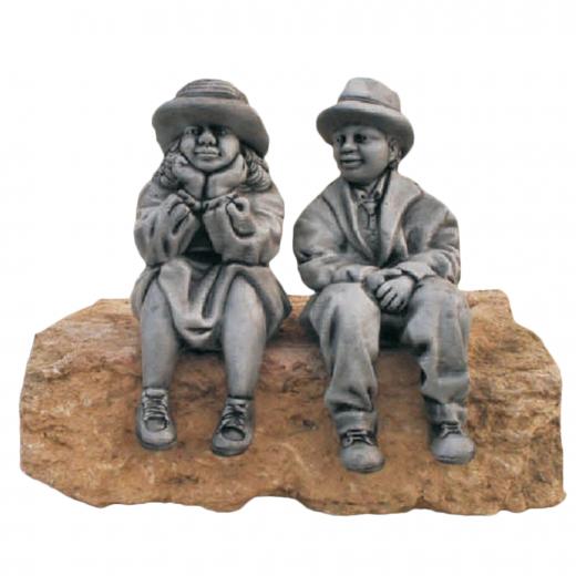 Boy & Girl Sitting 37cm statues cute garden ornament