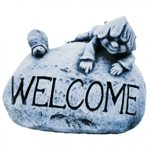 Welcome Stone 18cm house stone gnome welcoming worded ornament